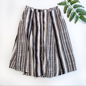ASTR The Label black and white stripe button skirt